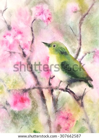 Water color illustration of a small green bird sitting on a branch. Wet-in-Wet watercolor technique  - stock photo