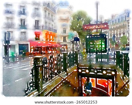 water color illustration water color illustration metropolitan sign paris  - stock photo