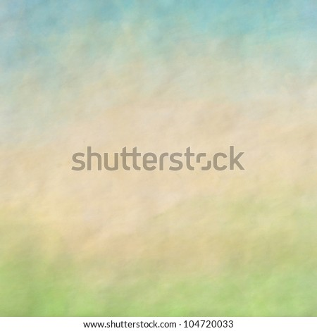 Water color like cloud and grass field  on old paper texture background. Spring mood - stock photo