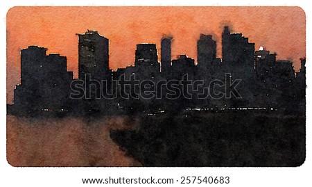 water color new york city scene - stock photo