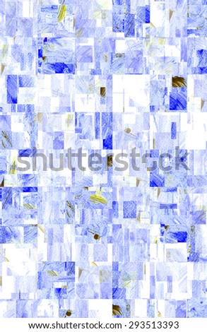 water color strokes painting by kid on white background with wave filter effect in blue color.  - stock photo