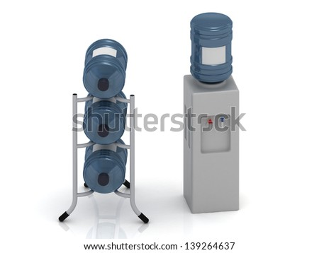 Water cooler with bottles and three bottles of water on the stand - stock photo