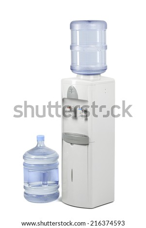 Water cooler with water bottle - stock photo
