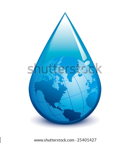 Water crisis droplet with world - stock photo
