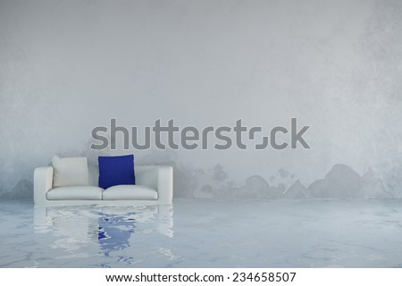 Water damage after flooding in house with mold on walls (3D Rendering) - stock photo