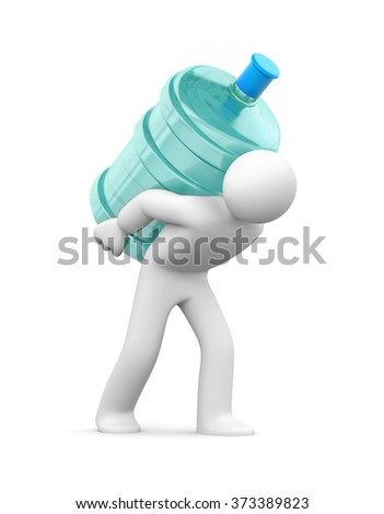 Water delivery. 3d person carrying a water bottle - stock photo