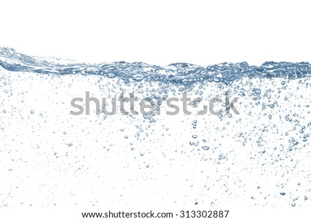 Water drop and bubbles blue - stock photo