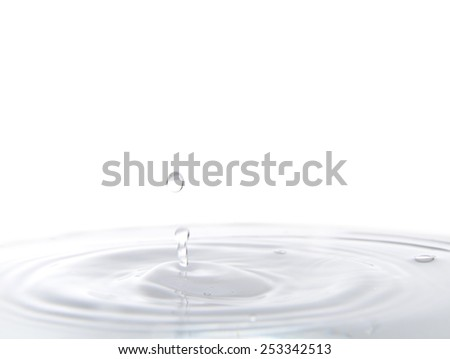 Water drop and wave close up with blue tune  - stock photo