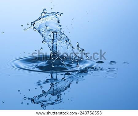 Water drop close up. Water sculpture. - stock photo