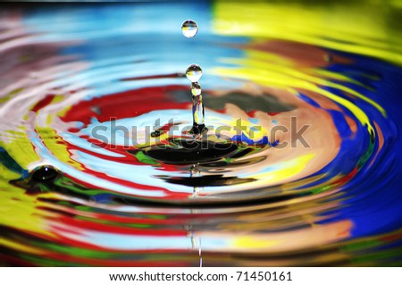 Water drop, colorful - stock photo
