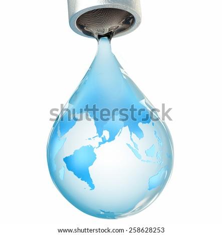 Water drop earth globe environmental concept. - stock photo