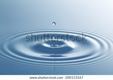 water drop falling - stock photo