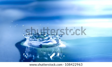 Water drop splashes the water surface and creates a beautiful crown of droplets. - stock photo