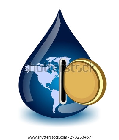 water drop with coin - water price in the world - stock photo