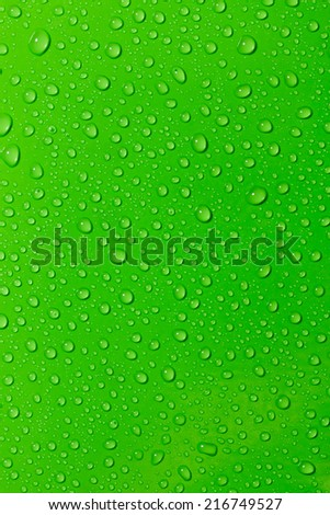 Water droplets on a green  background. - stock photo