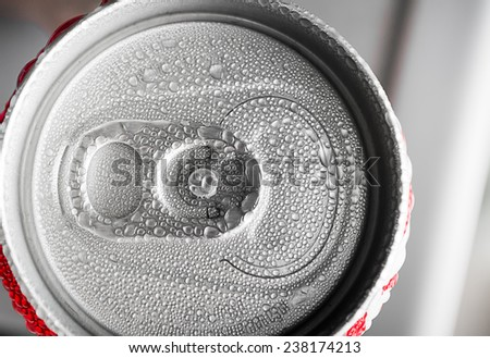 Water droplets on soda cans for background - stock photo