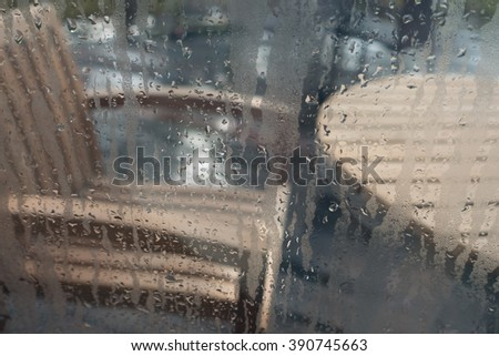 Water drops from home condensation on a window - stock photo