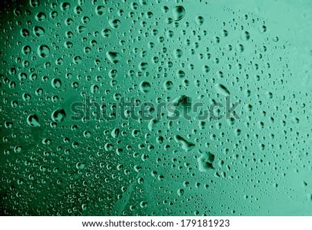 water drops macro - green tones - stock photo