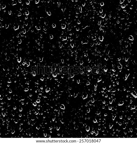 water drops on black background, seamless texture - stock photo