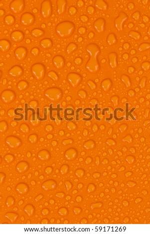 water-drops on Orange - stock photo