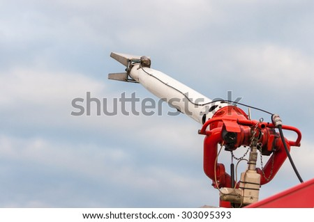 Water engine for fighting with A Fire Attack, set at firetrack. - stock photo