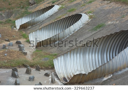 Water Environmental Conservation with Water Control Pipes - stock photo