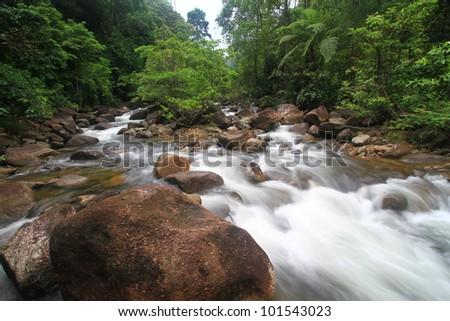 Water fall deep rain forest jungle - stock photo