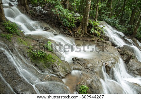 Water fall in rainy season The Naang Kruan water fall Pop Pra district, Tak, Thailand - stock photo