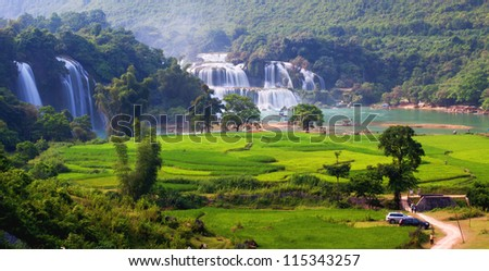 water fall vietnam landscape ,BanGioc - stock photo