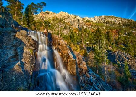 Water falling from rocks, Lake Tahoe, Sierra Nevada, California, USA - stock photo