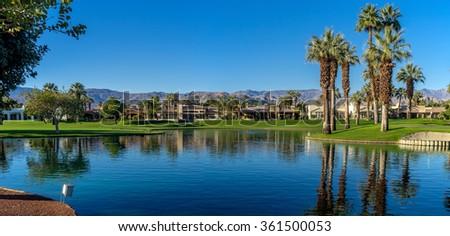 Water feature a Palm Desert golf resort. - stock photo