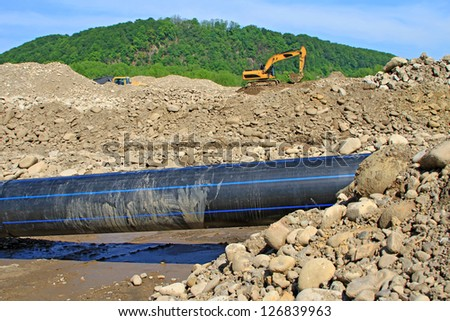 Water fence building - stock photo