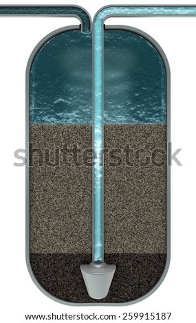 Water filter, cut scheme, 3d render - stock photo