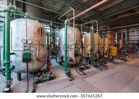 Water filters old power plant - stock photo