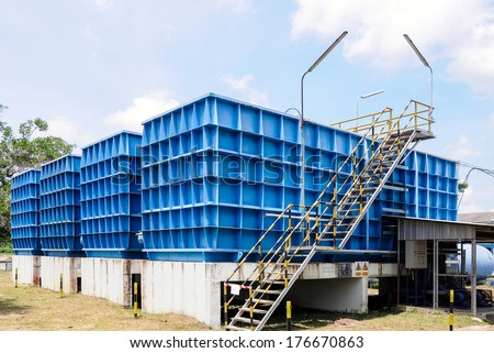 Water filtration plant for water supply in Thailand. - stock photo