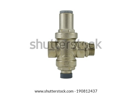Water flow regulator isolated on a white background. Water pressure reduction. - stock photo