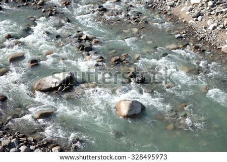 Water flow, rock, river at shirakawa, japan  - stock photo