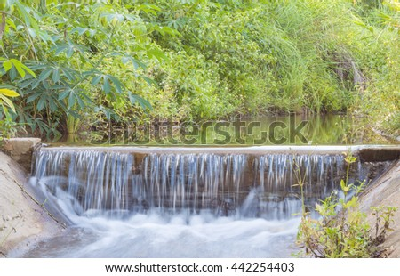 water flowing in irrigation canal for agricultural. - stock photo
