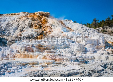 Water flows down the many steps of the hot springs - stock photo