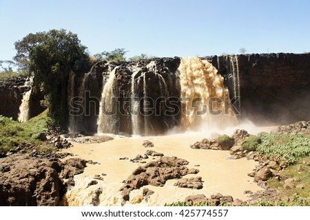Water flows of Blue Nile falls - stock photo