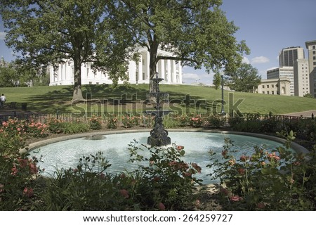 Water fountain and Virginia State Capitol, Richmond Virginia - stock photo