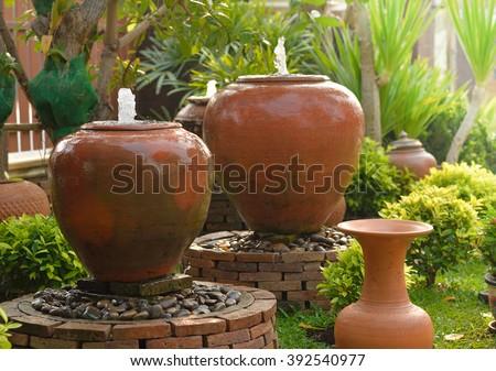 Water Fountain in garden - stock photo