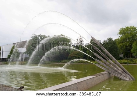 water fountain in Grugapark in Essen, Germany - stock photo