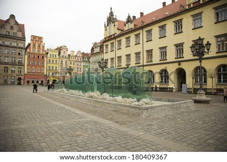 Water fountain on market square in Wroc?aw, Poland - stock photo