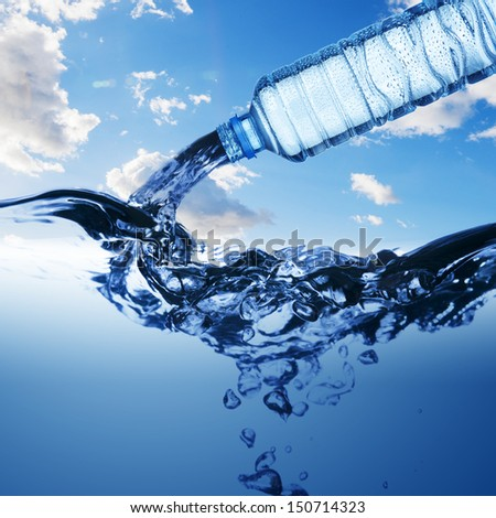 Water from water bottle with bubble forming on blue background - stock photo