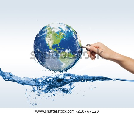 Water globe. Elements of this image furnished by NASA - stock photo