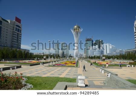 Water Green Boulevard in Astana. Kazakhstan - stock photo