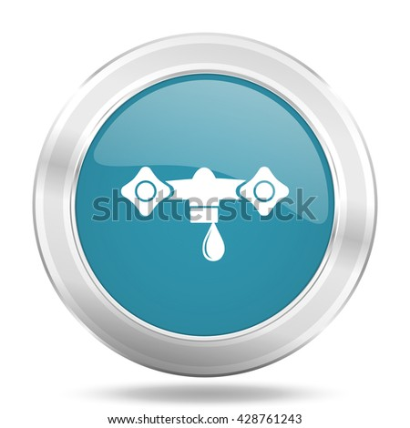 water icon, blue round metallic glossy button, web and mobile app design illustration - stock photo