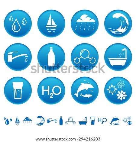 Water icons - stock photo