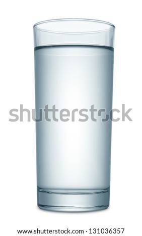 Water in glass isolated on white - stock photo